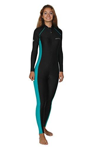 Women Sun Protective Stinger Suit Dive Skin Black Turquoise (M)