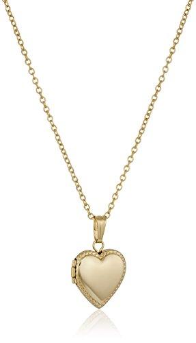 14k Beaded Heart (Children's 14k Gold-Filled Petite Beaded-Edge Heart Locket Necklace, 15
