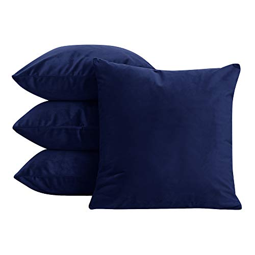 (Deconovo Home Decorative Premium Super Soft Velvet Couch Cushion Covers 20x20 Inch Navy Blue 4 Pcs)