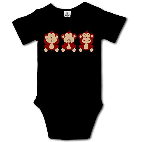 Ghhpws Cute Monkey See No Evil Baby's Boy's/Girl's Short Sleeve Comfortable One Piece Black Size 6 M -
