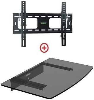 Mount World 952T43 Low Profile LCD LED Plasma TV Tilt Wall Mount with Bundle Single Glass shelf of Cable Box DVD Player Stereo Components for Most 22 to 42 HDTV VESA 200×200 400×200 400×300