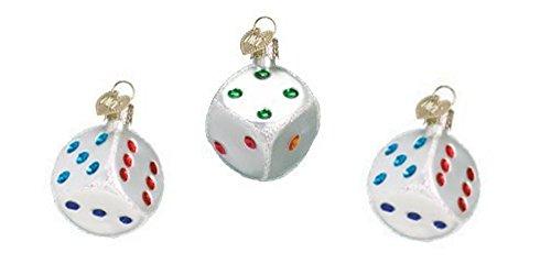 Bunco Dice Ornaments Set of 3 Two Inch Casino Dice Ornaments - Glass Dice Ornament for Bunco (Casino Ornaments)
