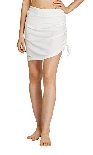 - Womens Swim Skirt Waistband Mid Length Skirted Bikini Bottom Cover-up Beachwear 10 White