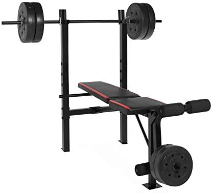 Amazon com: Weight Bench With 100 LBS Vinyl Weight Set Bench