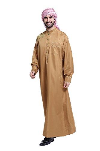 FangNer Men's Thobe Galabeya Thoub Abaya Robe Long Sleeves Arab Muslim Wear by FangNer