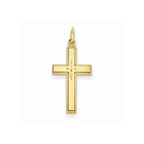 14k Dia-Cut Cross Pendant, Best Quality Free Gift Box