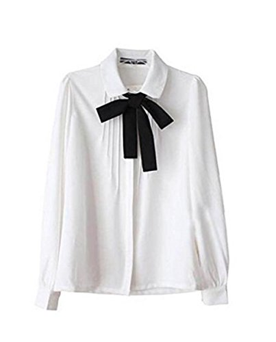Q&Y Lady Bowknot Doll Collar Long Sleeve OL Chiffon Button Down Shirts Top Blouse White S (Collar Long Sleeve Top)