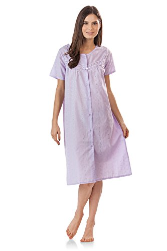Casual Nights Women's Short Sleeve Eyelet Embroidered House Dress - Purple - Large