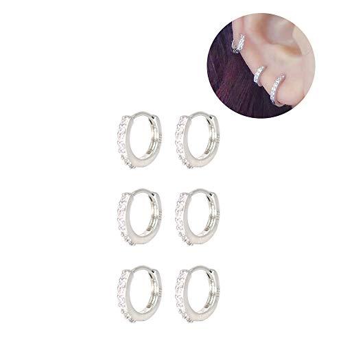 XLSFPY 3 Pairs Sterling Silver Small Hoop Earrings Tiny Cartilage Earring Cubic Zirconia Cuff Earrings Huggie Hoops Earrings Ear Piercing for Women Girls