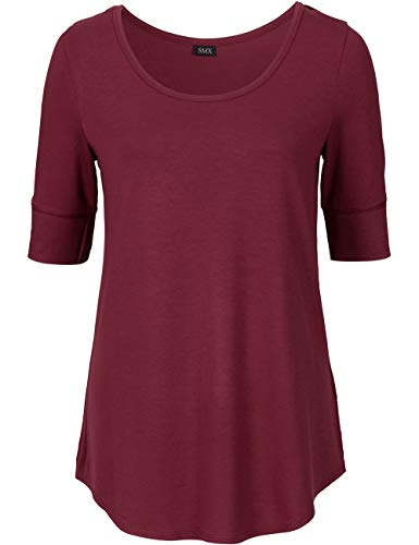 Women Scoop Neck Cotton Tee Shirts for Work Half Sleeve Tops, Wind Red, Small