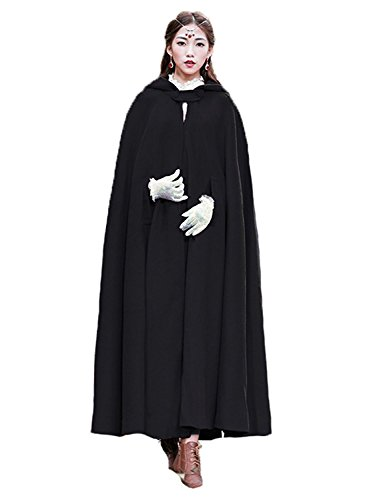Baoqiya Womens Capes Hooded Cloak Outwear Poncho Warm Autumn and Winter Coat