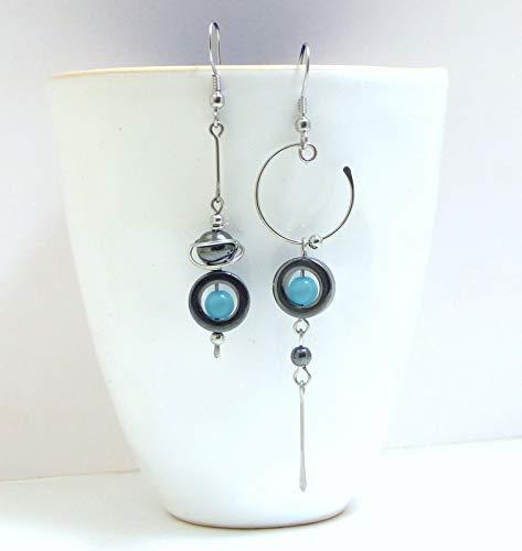 Boucles doreilles originales modernes d/épareill/ées A24 h/ématite /œil de chat bleu et acier inoxydable