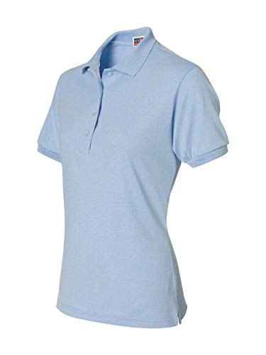 (Jerzees womens 5.6 oz. 50/50 Jersey Polo with SpotShield(437W)-LIGHT BLUE-M )