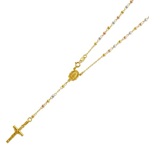 14K Tri-color Gold Chain Cross Necklace DC Bead Rosary Necklace (16, 18, 20, 24, 26