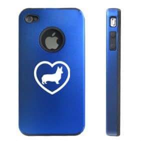Apple iPhone 4 4S 4G Blue DD83 Aluminum & Silicone Case Corgi Heart