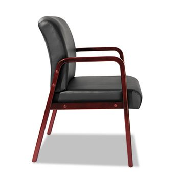 Reception Lounge Series Guest Chair, Cherry/Black Leather Alera Furniture Alera Cherry