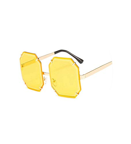 New Octagon Vintage Rimless Sunglasses Women Unique Oversized Candy Sun Glasses Large Frame Clear ()
