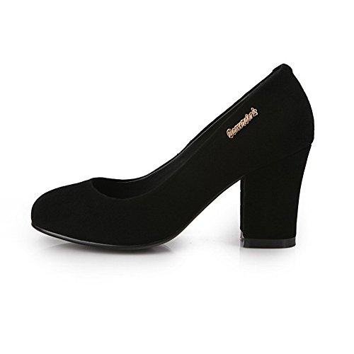 Allhqfashion Dames Solide Frosted Hoge Hakken Pull-on Ronde Gesloten Teen Pumps-schoenen Zwart