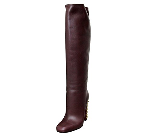 Gucci Women's Bordeaux Leather Knee High Studded Jacquelyne Tall Boots 297199 (6.5 US/36.5 G) ()