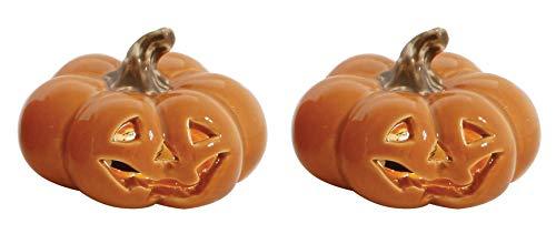 (Jack-O-Lantern Ceramic Halloween Figurines - Set of 2)
