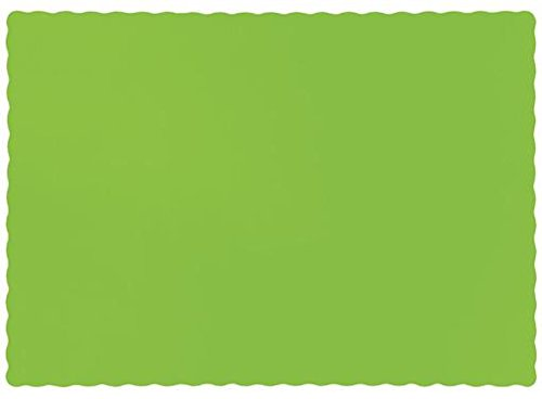 50 Ct Solid Kiwi Green Paper Placemats Party Tableware