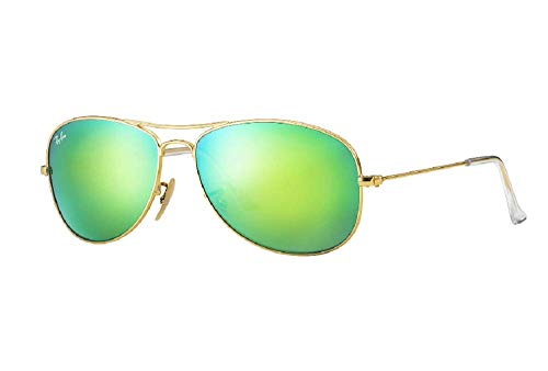 Ray-Ban RB3362 Cockpit Aviator Sunglasses, Matte Gold/Grey Mirror Green, 56 ()