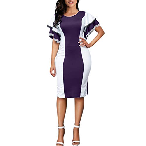 YKARITIANNA Women Plus Size Summer Sexy Flare Sleeve Layered O-Neck Lace Party Evening Dress 2019 Summer Purple