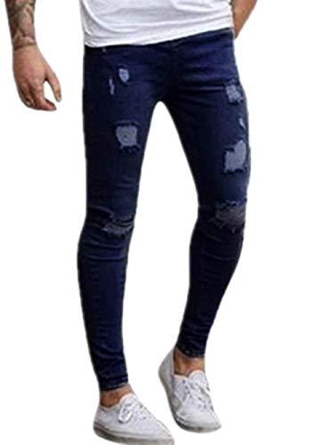 Cargo Allenamento Da Jeans Chino Giovane Denim Fashion Saoye Uomo Stretch Dunkelblau Lunghi Pantaloni PqqaEv