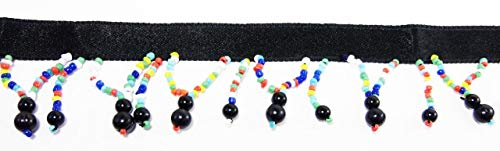 2 Yards Hanging Beaded Fringes- Native Indian Multi Color Glass Seed Beads with Black Round Pearls On Satin Ribbon Tape for Sewing Quilting Renaissance Dance Hawaiian Bridal Costumes Drapery