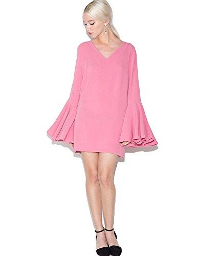 ZEARO Mode Damen Minikleid Abendkleid Partykleid Etuikleid Flare Langarm Gerades Kleider