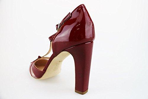 CALPIERRE Zapatos de Salón Mujer Negro/Rojo Charol (38,5 EU, Rojo)