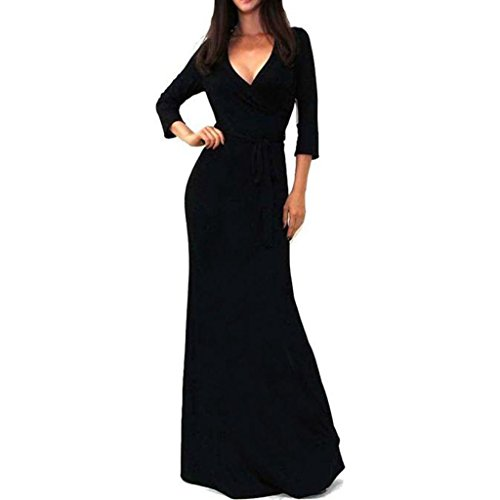 Sunsee Women's Solid V-Neck 3/4 Sleeve Wrap Waist Long Maxi Dress (S, Black) -