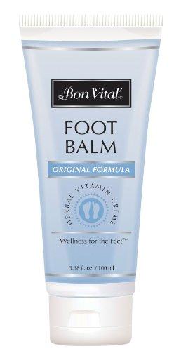 Bon Vital' Original Foot Balm, Foot Cream for Dry Skin & Cracked Heels, Moisturize Feet & Speed Healing of Blisters & Abrasions on Heel, Increase Circulation in Feet, 3.38 Ounce Tube by Bon Vital