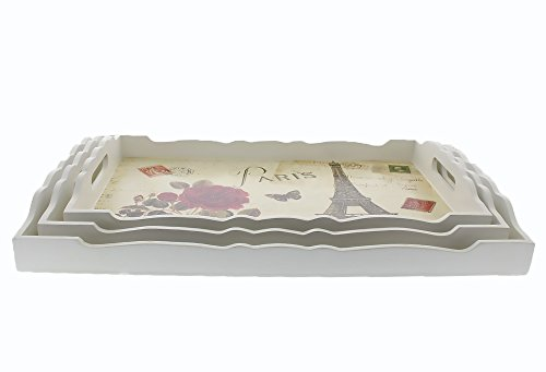 Wooden Food Serving Trays with Handles - Nesting Trays - Stackable - for Breakfast in Bed, Coffee Table, Parties, Hosting, More - Elegant Paris Theme Print - White - 3 Piece Set - Sml, Med, Lg