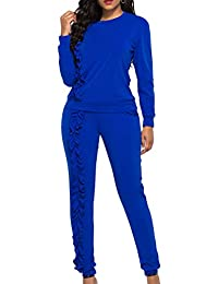 XXXITICAT Women's Ruched Two Piece Pants Set Suit Sportswear Athletic Tracksuit