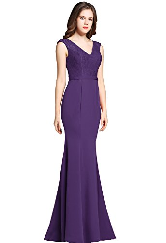 9a0aaa30aae5 ... Mermaid Long Prom Dresses Lace V-Neck Evening Formal Dress Size6 Dark  Purple. ; 