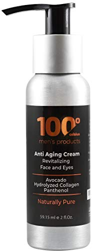 Mens Anti Aging Face Cream 100 Celsius-Produce Noticeable Improvement in 4 Weeks-Mens Face Moisturizer Cream For Face and Eyes w/Avocado,Hydrolyzed Collagen and Panthenol- 100% Organic Extracts.