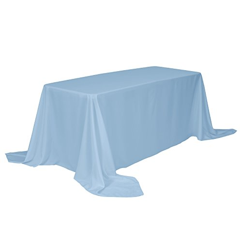 VEEYOO Rectangular Tablecloth 100% Polyester Oblong Table Cloth for Bridal Shower - Solid Soft Oval Table Cover for Wedding Party Restaurant Party Buffet Table (Baby Blue, 90x132)