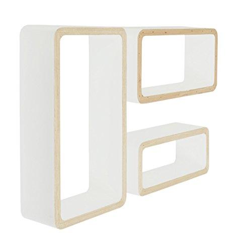 ts-ideen-Set-3-x-Cube-Design-Wandregal-Board-Sideboard-Kommode-Buchenholzfurnier-natur-und-wei