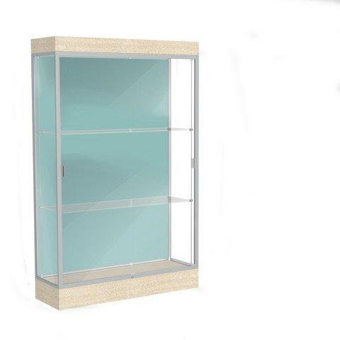 Edge Series Floor Display Case Frame Color: Satin, Base Color: Chardonnay, Case Backing: -