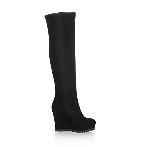 Black Boots 5 Round with Toe Womens M US Closed Wedge Platform Rubber Heels Solid B High AmoonyFashion and qfOwxBW8f