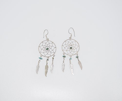 Sterling Silver Dreamcatcher Earrings with Genuine (Sterling Silver Turquoise Accent)