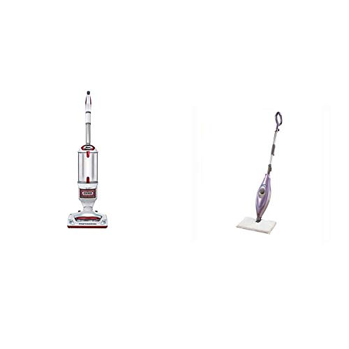 Shark Rotator Professional Upright Corded Bagless Vacuum with Lift-Away Hand Vacuum and Anti-Allergy Seal, Red &  Steam Pocket Mop Hard Floor Cleaner with Swivel Steering XL Water Tank (Best Steam Mops For Hardwood Floors 2014)