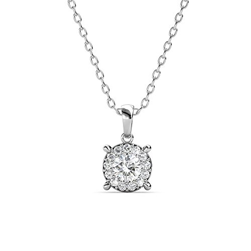 (Cate & Chloe Raylee Brilliant Halo Pendant Necklace, Women's 18k White Gold Plated Necklace with Swarovski Crystals, Sparkling Round Cut Crystal Glass Stones, Silver Necklace for Women)