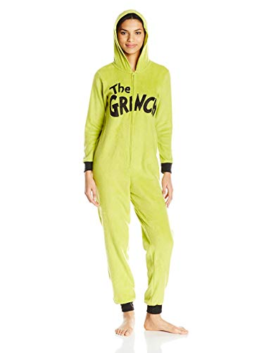 Dr.Seuss Women's Grinch Hoodie Union Suit, Green, Large -