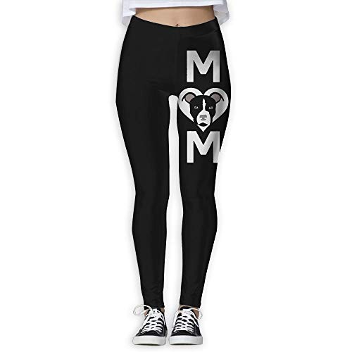 (QQMIMIG Women's Full Length Wire-Free Pants Pitbull Mom Yoga Leggings White)