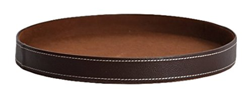 The Lucky Clover Trading Roosevelt Round Faux Leather Serving Tray, Brown (Round Leather Tray)