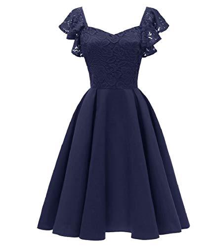 Jaycargogo Pizzo Una Donne Linea Floreale Di Pieghe Sera Midi Prom 1 Formale Dress Abito 8ttwfr