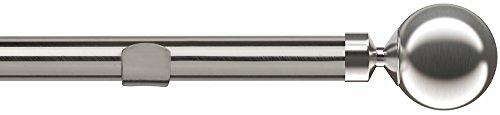Distanza di 28mm pali fissi occhiello Pole con coppia di sfera Finials–argento satinato–400cm