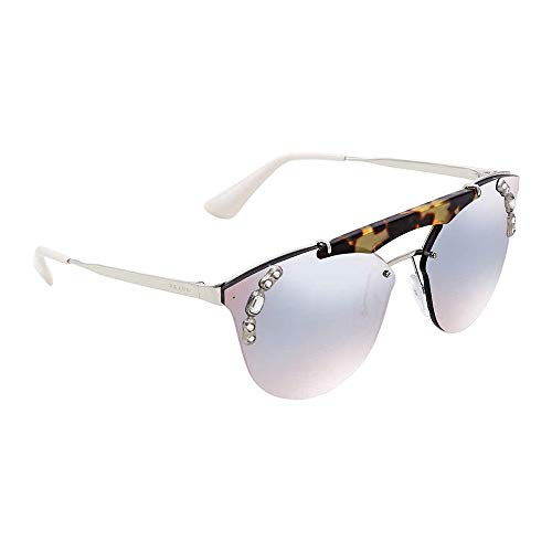 Prada Women's Crystal Ornate Aviator Sunglasses, Silver Havana/Blue Silver, One ()